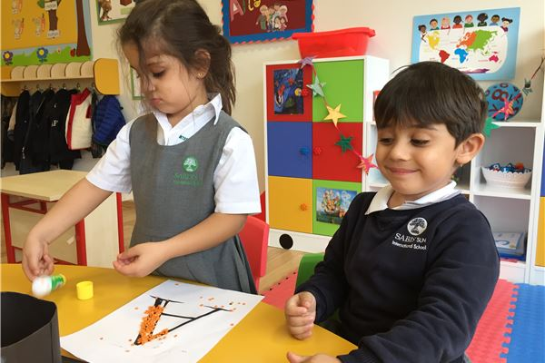 KG students learning through activities